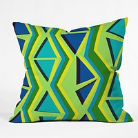 Sarah Bagshaw Blue And Green Geometric Throw Pillow