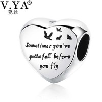 V.YA Romantic Beads Charms fit for Pandora Bangles Bracelets Women's Men's DIY Jewelry Accesory Valentine's Day