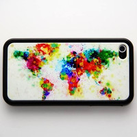 Rubber Case art printing world map iPhone 4/4s case