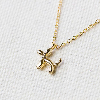 Quirky cute dainty necklace | Gold plated layering necklace | Balloon dog pendant | Gifts for her under 20 | Unique gold necklace | Delicate