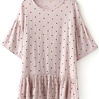 Loose Polka Dot Round Neck Bat-Wing Sleeve Dress