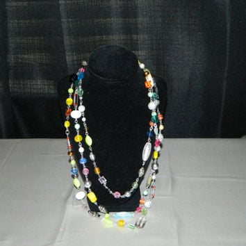 Multi Strand Beaded Statement Necklace Red Blue Green Yellow Black