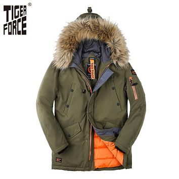 Men Padded Parka Winter Coat Men Fashion Casual Coat Jacket Thick Parkas Artificial Fur
