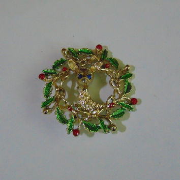 Vintage Gerry Reindeer Wreath Brooch Pin Lapel
