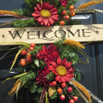 Fall Door Swag Wreath, Welcome Wreath, Fall Door Wreaths, Autumn Wreaths, Fall Front Door Wreaths, Door Wreaths, Thanksgiving Wreaths