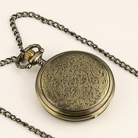 ESS Ladies Light Copper Stainless Steel Case Silvered Dial Roman Numbers Necklace Pocket Watch