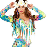 Tie Dye Rainbow Fuax Suede Long Sleeve Lace-Up Fringe Top