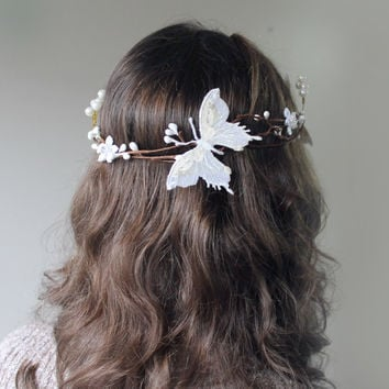 Wedding Hair Accessories, Mint Green Butterfly Hair Circlet, Gold Pearl Hair Accessory, Wedding Bridal Head Piece Wreath
