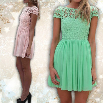 Fashion Women Crew Neck Short Sleeve Lace Crochet Chiffon Dress Sexy Backless Party Dresses White Pink Green = 1695427972