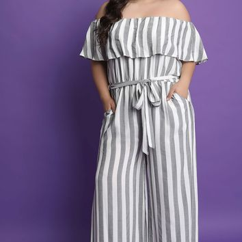 Striped Off-The-Shoulder Ruffle Jumpsuit