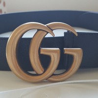 Authentic GUCCI marmont double g/ gg grained black leather belt 4cm wide, 95cm