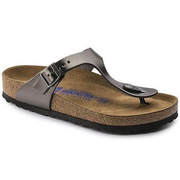 Best Online Sale Birkenstock Gizeh Soft Footbed Leather Metallic Anthracite 1003676 Sa