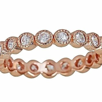 14k Rose Gold on Silver Antique Style Bezel Set Eternity Stackable Ring Band S-8