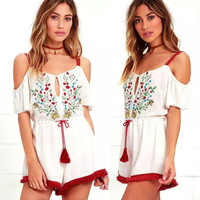 Women's Casual Spaghetti Strap Cold Shoulder Summer Romper