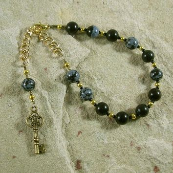 Hekate Prayer Bead Bracelet in Snowflake Obsidian: Greek Goddess of Magic and Witchcraft