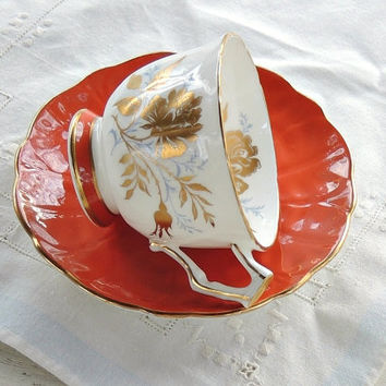 Vintage Aynsley Gilded Gold Tea Cup and Saucer,Tea Party, Ornate, English Bone China, Wedding, Signed and Numbered 2733