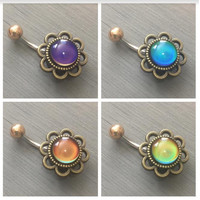 Color Changing Mood Stone Belly Button Ring Navel Piercing Jewelry