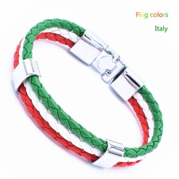 Italy France Russia etc National Flag Rope Bracelet (21 cm)