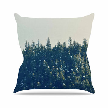 """Robin Dickinson """"Take The Road Less Traveled"""" Gray Green Throw Pillow"""