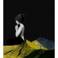 Contemplate - Mountain Print, Mixed Media, Surreal photography, Nature Art, Minimalist Poster, Portrait Art, Vintage Women