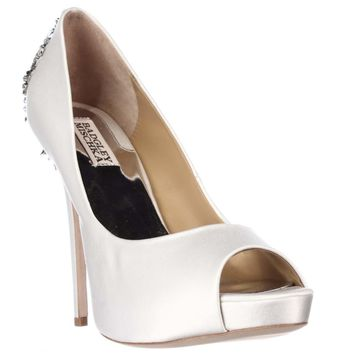 Badgley Mischka Kiara Jeweled Heel Platform Peep Toe Pumps, White, 10 US