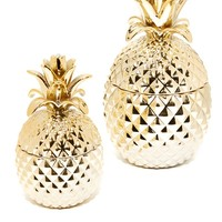Golden Hospitality Set of 2 Pineapple Jars