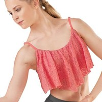 Crochet Lace Overlay Dance Bra Top - Balera