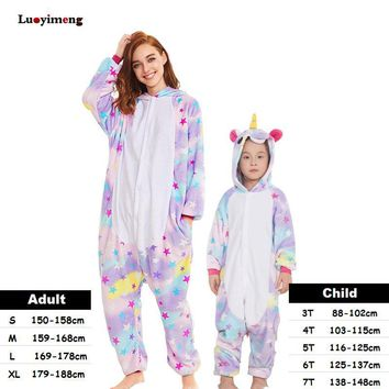 Cool Kigurumi Kids Women Unicorn Pajamas Unisex Couples Onepiece Cartoon Cosplay Costume Animal Onesuit Pyjamas Adult Girls SleepwearAT_93_12