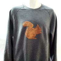 Squirrel Sweatshirt - unisex - low CO2, organic cotton, fairly traded, hand printed