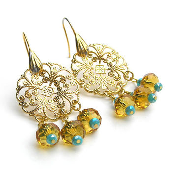 Gold Filigree Chandelier Earrings, Crystal Earrings, Opulent Jewelry, Metal Earrings, Raw Brass Jewelry, Bohemian Jewelry, Turquoise