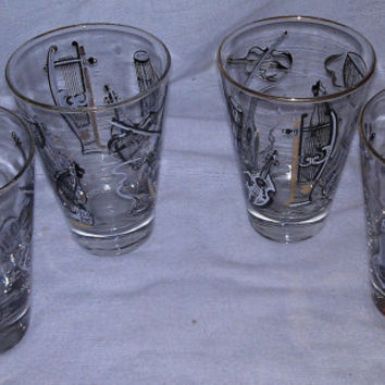 Set of 4 1950s Libbey  Glasses with Musical Instruments