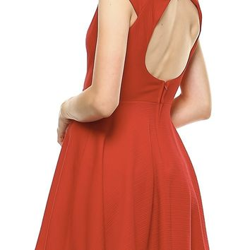 Teeze Me | Back Cutout Fit and Flare Dress | Red