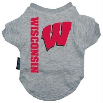 ICIKGW6 Wisconsin Badgers Heather Grey Pet T-Shirt