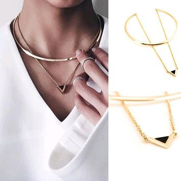 Women Gold Big Circle Choker Necklace Chain Enamel Triangle Pendant