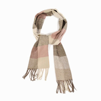 Vintage Herringbone Check Winter Scarf in Brown & Cream