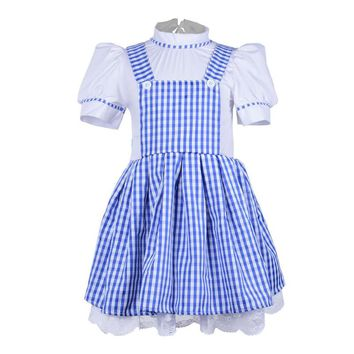 halloween party cosplay kid girl children  maid Wizard of OZ Dorothy princess dress costume 90cm-155cm height children .