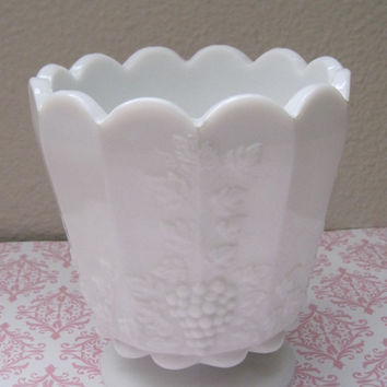 Vintage/Pedestal/Container/Heavy White Milk Glass/Jardin Pedestal Bowl/Vase/Signed Westmoreland/Grape Pattern/1950's/Mid-Century/Home Decor