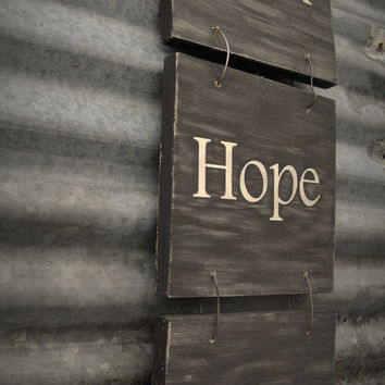 Rustic Wall Sign. Faith Hope Love. Distressed Wood Wall Hanging, Cottage Chic. Black