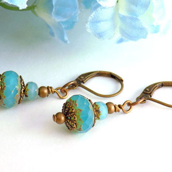 Turquoise Beaded Czech Earrings Handcrafted Short Dangle Antique Brass