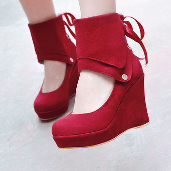 Women Wedges High Heels Flock Platform Shoes 4340