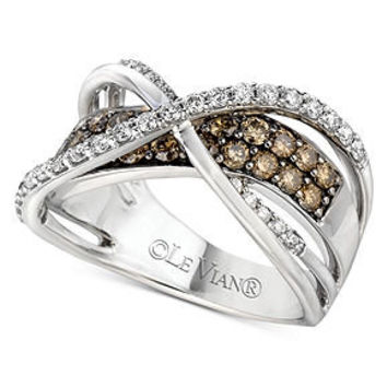 Le Vian Diamond Ring, 14k White Gold White and Chocolate Diamond Crossover Ring (1-1/4 ct. t.w.) - Rings - Jewelry & Watches - Macy's