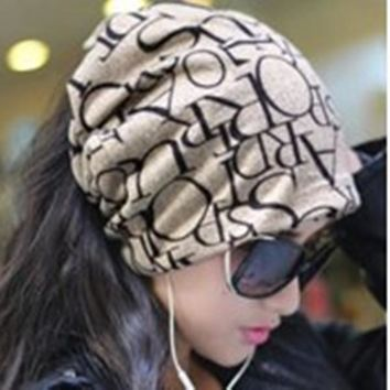 Miya Mona Newest Fashion Korean Women Classic Hip-Hop English Letter Multi Purpose Baggy Hat Unisex Scarf Beanie Spring Hat