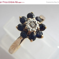 Sale Hallmarked 9ct Gold Diamond Solitaire Sapphire Cluster Engagement Ring - Vintage Engagement Ring