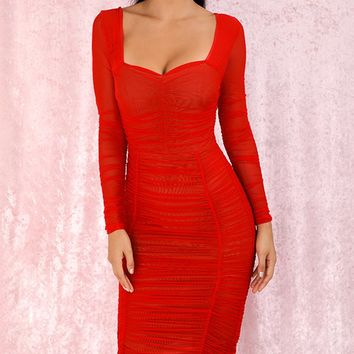 Getting It Right Red Sheer Mesh Long Sleeve Sweetheart Neck Ruched Bodycon Midi Dress