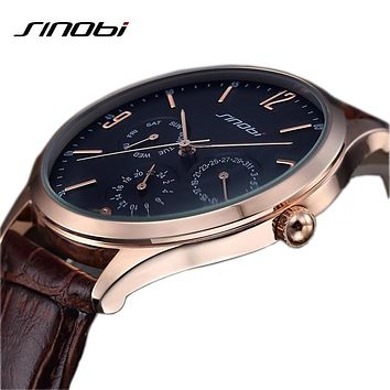 SINOBI Leather Analog Watch