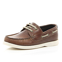 River Island Boys brown boat shoe