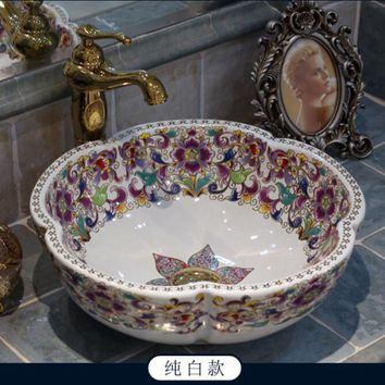 KBS Free shipping bathroom round sinks Ceramic counter top basins hand painting art vessel