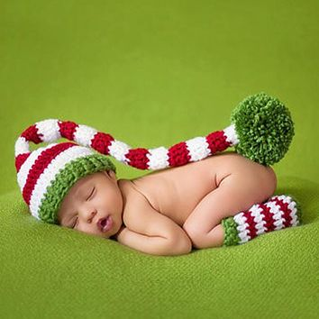 Newborn Baby Photography Accessories Girls Boys Hat Legging Crochet Knit Costume Photography Props