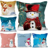 45x45cm New Years Gifts Christmas Pillow Cover for Home Decorative Snowman Pillow Case Short Plush Cushion Covers