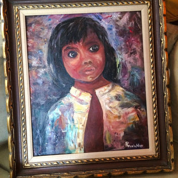1960s mid century Vintage Original Art big eye Child young girl portrait oil painting signed artist